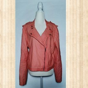 Coral Faux Leather Moto Jacket